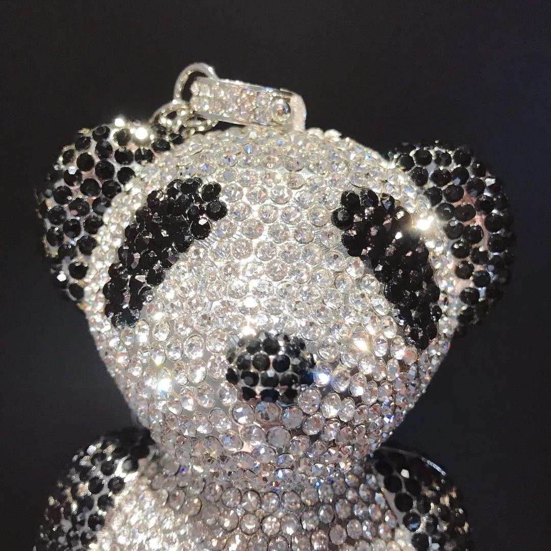 Bag For Women 3D Love Panda Shape Women Silver Black Crystal Evening Clutch Handbags and Purses Diamond Wedding Cocktail Bags-BeeInFly