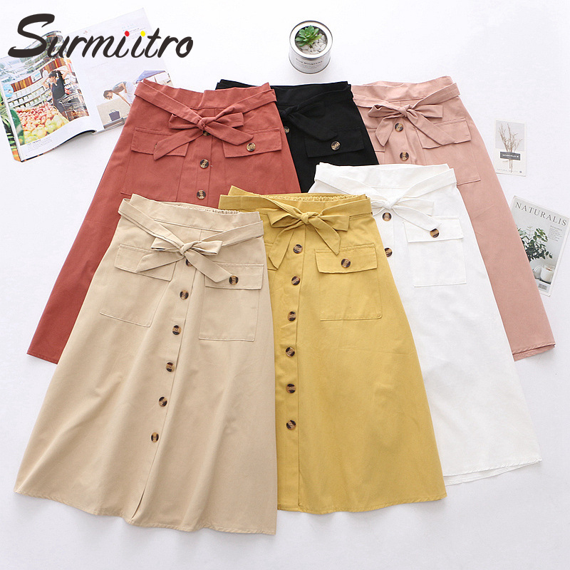 Surmiitro Midi Skirt Women For 2020 Spring Summer Fashion Ladies Korean Single-breasted White Black High Waist Skirt Female