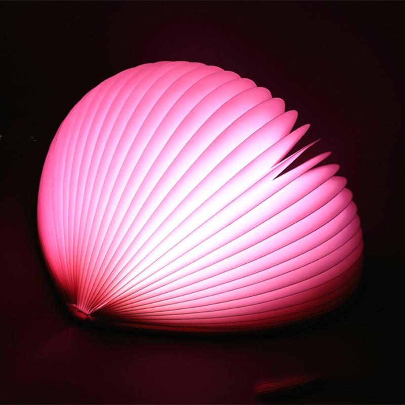 Cartoon Book Light LED Night Lamp for Birthday Heart shaped Folding Table Lamp Home Decor Bathroom M25