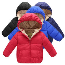 Boy Clothes Winter Hooded Coat Jacket Plus Velvet Warmth Child Wear Thickening 2-6 Y Children Quality Clothing 2019 Hot Sale(China)