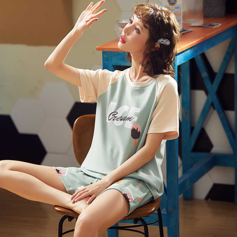 Bzel Hoạt Hình Ngủ Nữ 2 Bộ Đồ Ngủ Cổ Tròn Dép Nữ Homewear Cotton Nhà Quần Áo Nữ Thời Trang bộ Pijama