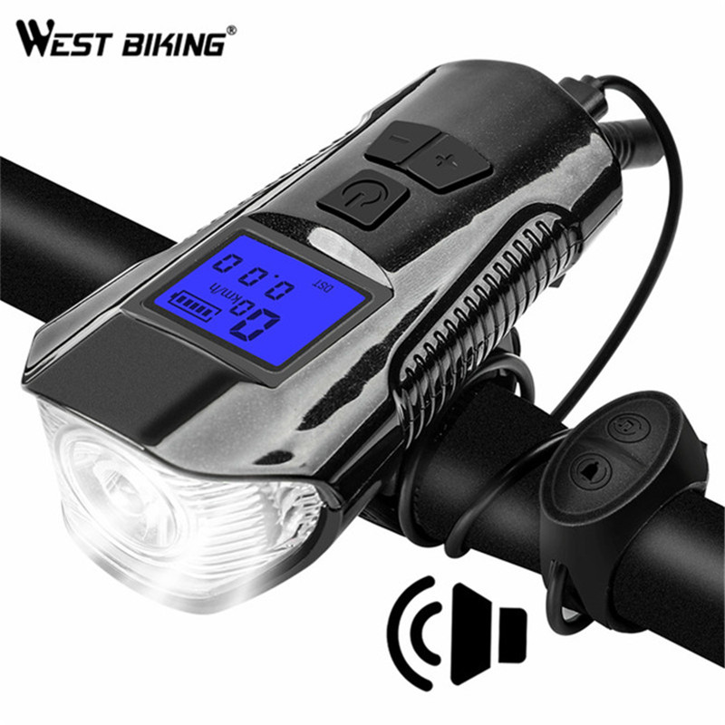 WEST BIKING Bicycle Front Light LED USB Rechargeable Bike Torch With Computer Electric Horn Handlebar Headlight For Cycling