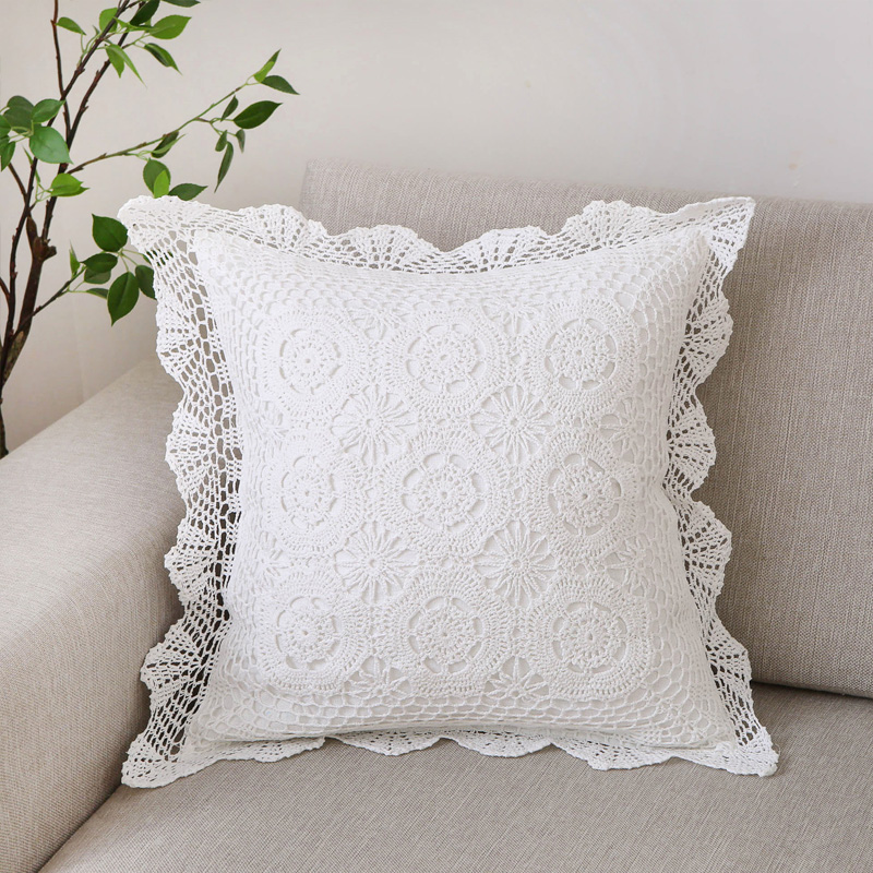 60 cm Square Village hand made Crochet pillow Cushion Cover Large Fashion Home Decoration white, Ivory