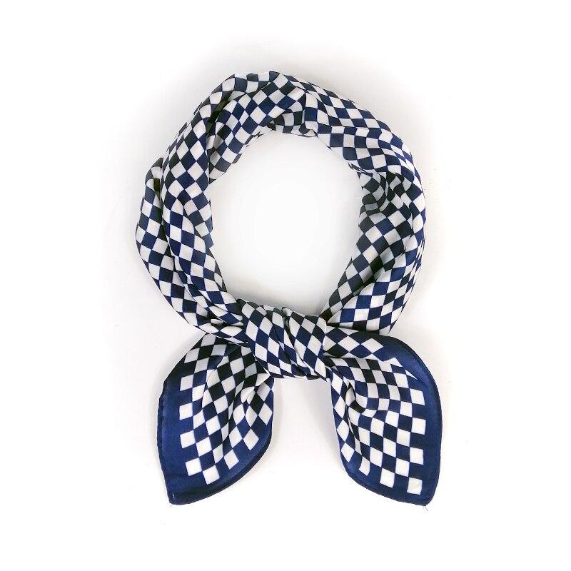 53*53CM New Arrival Square Scarf Hair Tie Band For Grid Kerchief Women Elegant Vintage Skinny Foulard Head Neck Silk Satin Scarf