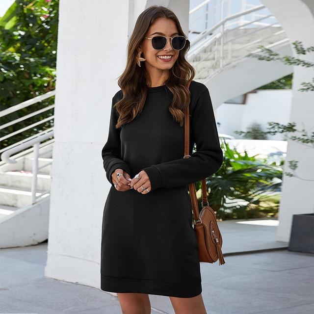 Leosoxs осенне-зимнее платье-свитер с круглым вырезом и длинным рукавом для женщин 2020 Новое модное однотонное свободное мини-платье с карманом для женщин Vestidos 1