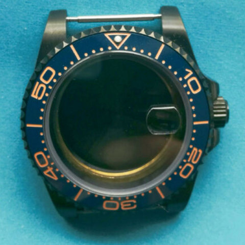 Vidro de Safira Cerâmica Moldura Case Relógio Ajuste Eta 2824 2836 Movimento 40mm Pvd