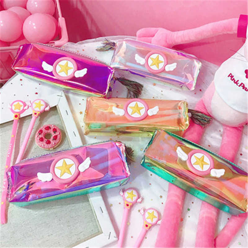 Card Captor Storage bag Stationery box Sailor Moon Pencil Case Transparent Laser Storage Box Stationery Box Student  Gift