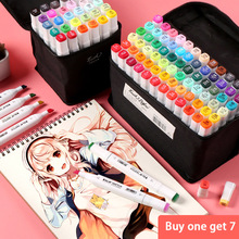 Marker art oily alcohol painting watercolor pen color double head beginner anime hand painting brush 36/48/60 color art supplies durable three generations of pen set double head alcohol oily 60 80 color marker not