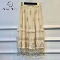 SEQINYY Vintage Skirt 2020 Summer Spring New Fashion Design Women High Waist A line Mesh Gauze Abstract Print Long Skirt