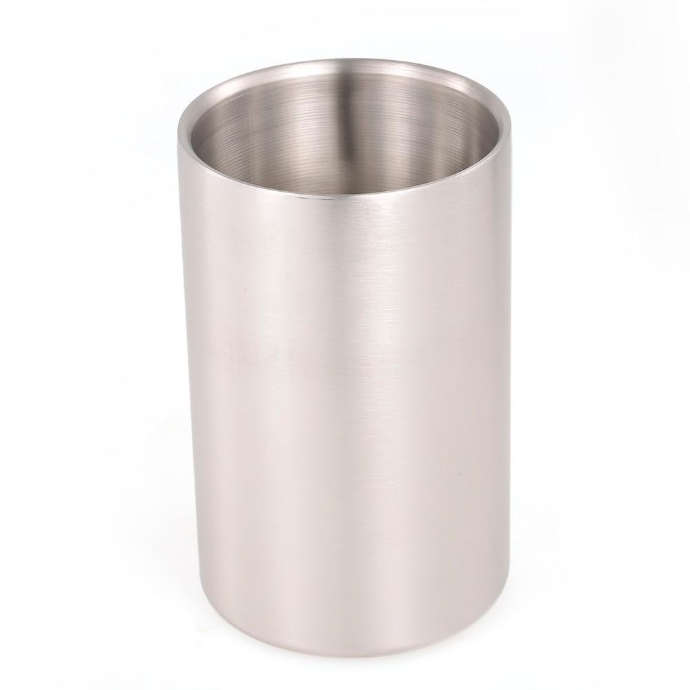Ice Bucket Cocktail Shaker Stainless Steel Wine Bucket Double Wall for Wine Bottle Parties Bar Ice Bucket 19.2*11.8cm Barware