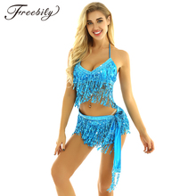 Belly Dance Latin Sequin Halter Top Bra Belt Hip Skirt Set Sexy Party Costume Ta