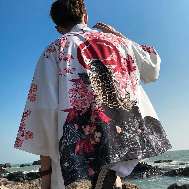 Japanese Kimono Style Men Cardigan Half Sleeves Open Front Cloak Jacket Coat