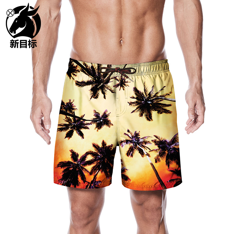 Foreign Trade Peach Skin Shorts 2019 Summer New Style Seaside Ye Lin Printed Beach Shorts Large Size Lard-bucket Trunks Hot Sell