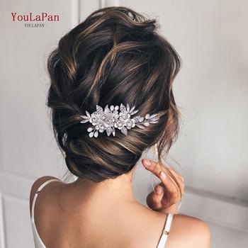 TOPQUEEN HP303 kryształowe ślubne akcesoria do włosów dla kobiety Tiara Rhinestone ślubne nakrycie głowy srebrne ślubne grzebień ślubne spinki do włosów tanie i dobre opinie CN (pochodzenie) Z pałąkiem na głowę Metal Adult Silver 6 5*12CM 2 56*4 72IN Wedding hair clip Bridal comb Wedding party