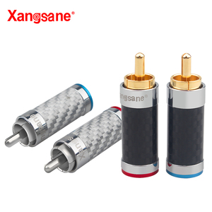 Image 4 - Xangsane 4PCS black/white carbon fiber gold plated and silver plated hifi audio RCA plug for DIY signal power cable