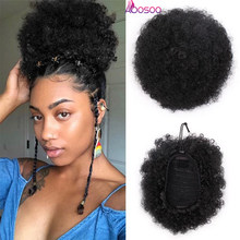 8inch Short Afro Puff Synthetic Hair Bun Chignon Hairpiece For Women Drawstring Ponytail Kinky Curly Updo Clip Hair Extensions(China)
