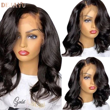 Wig Hair Human-Hair-Wigs Lace-Front Body-Wave Dejavu Black-Women 150%Density Remy-Peruvian