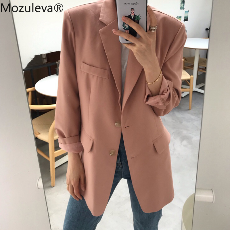 Mozuleva Elegant Single-breasted Women Blazer Jacket Casual Loose Female Workwear Outerwear Elegant Solid Women Suit Jacket 2019