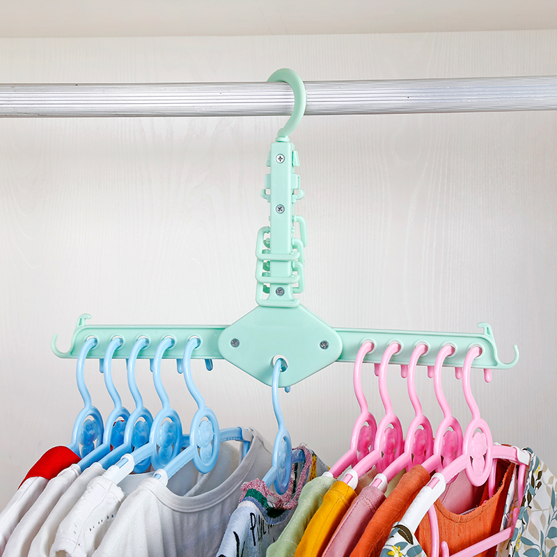 Plastic 11 Circle Multilayer Windproof Clothes Hanger Organizer Fixed Holder Storage Racks Buckle Anti-Slip Home