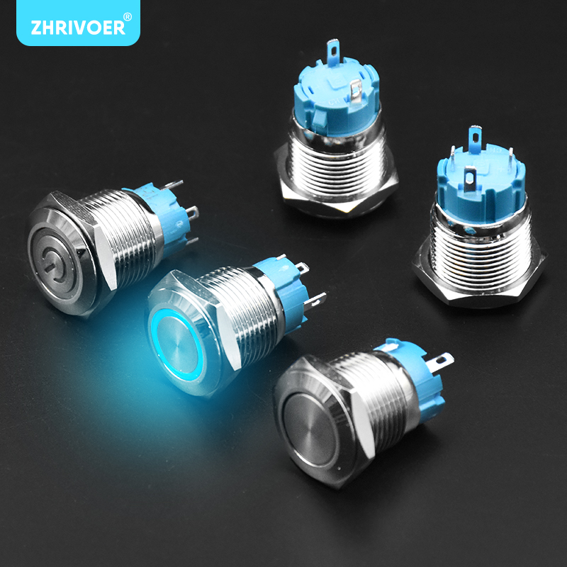 1Pc16mm Push Button Switch Ring LED Light Momentary Latching Waterproof 5V~220V