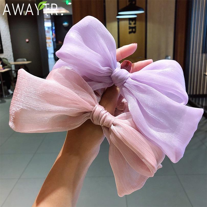 New Women Girls Cute Big Bow Chiffon Elastic Hair Bands Sweet Headband Hair Ornament Ponytail Holder Fashion Hair Accessories