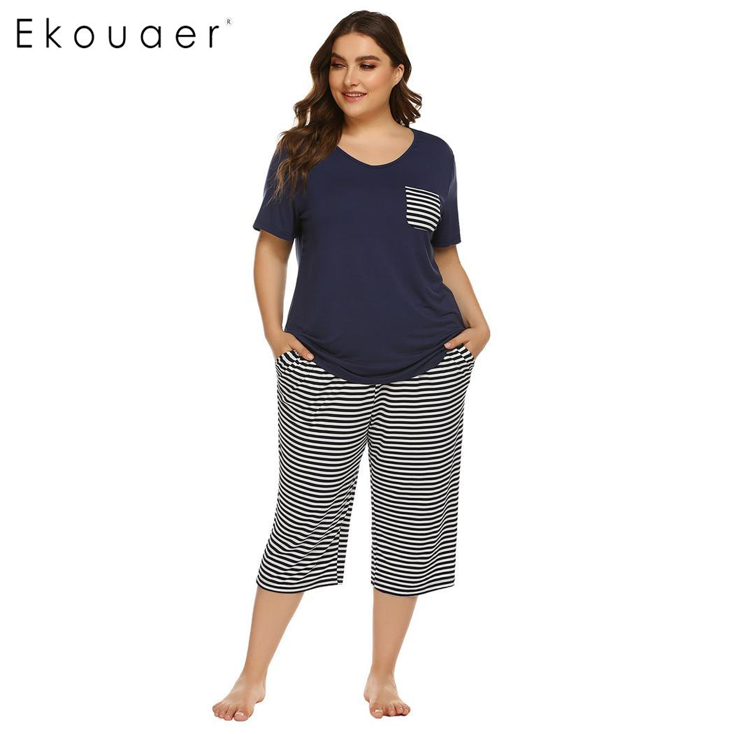 Ekouaer Women Plus Size Pajama Sets Summer Nightwear Short Sleeve Tops Striped Capri Pants Pajama Suit Female Sleepwear
