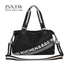 ISXTW 2019 Sport Bags for Gym Women Classic Black Waterproof Shoulder Portable Large Capacity Travel Hand Luggage / F2