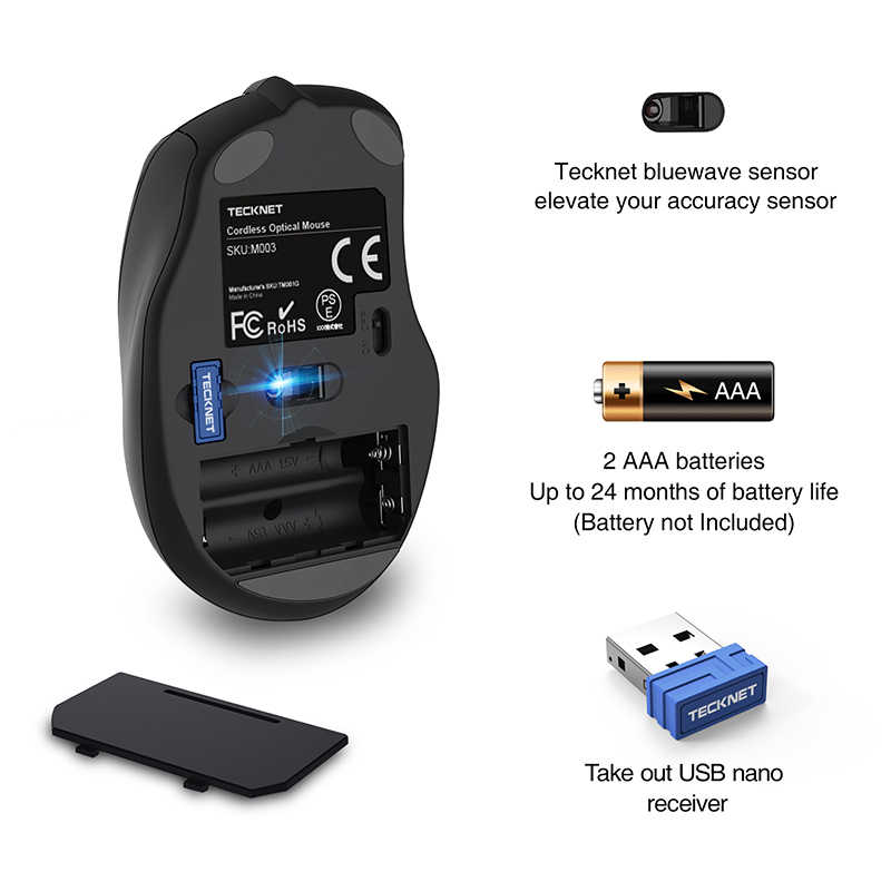 TeckNet ワイヤレスマウス 2.4 グラム 2.0 USB コードレス光学式マウス 800/1200/1600/2000/2600DPI 6 ボタンラップトップ Pc 用デスクトップ