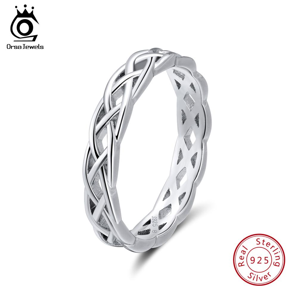 ORSA JEWELS 100% 925 Sterling Silver Female Rings Twisted Shape Finger Ring Wedding Band Women Jewelry Drop Shipping 2019 OSR62