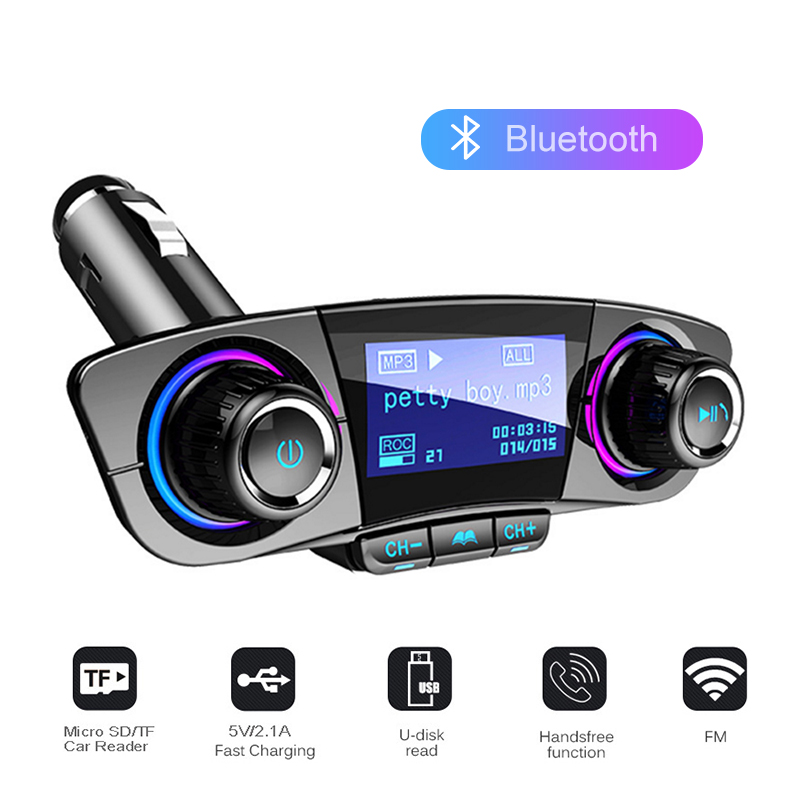 Car Handsfree Wireless Bluetooth Kit FM Transmitter LED Audio MP3 Player Dual USB Charger FM TF Aux in Modulator Car Accessories image
