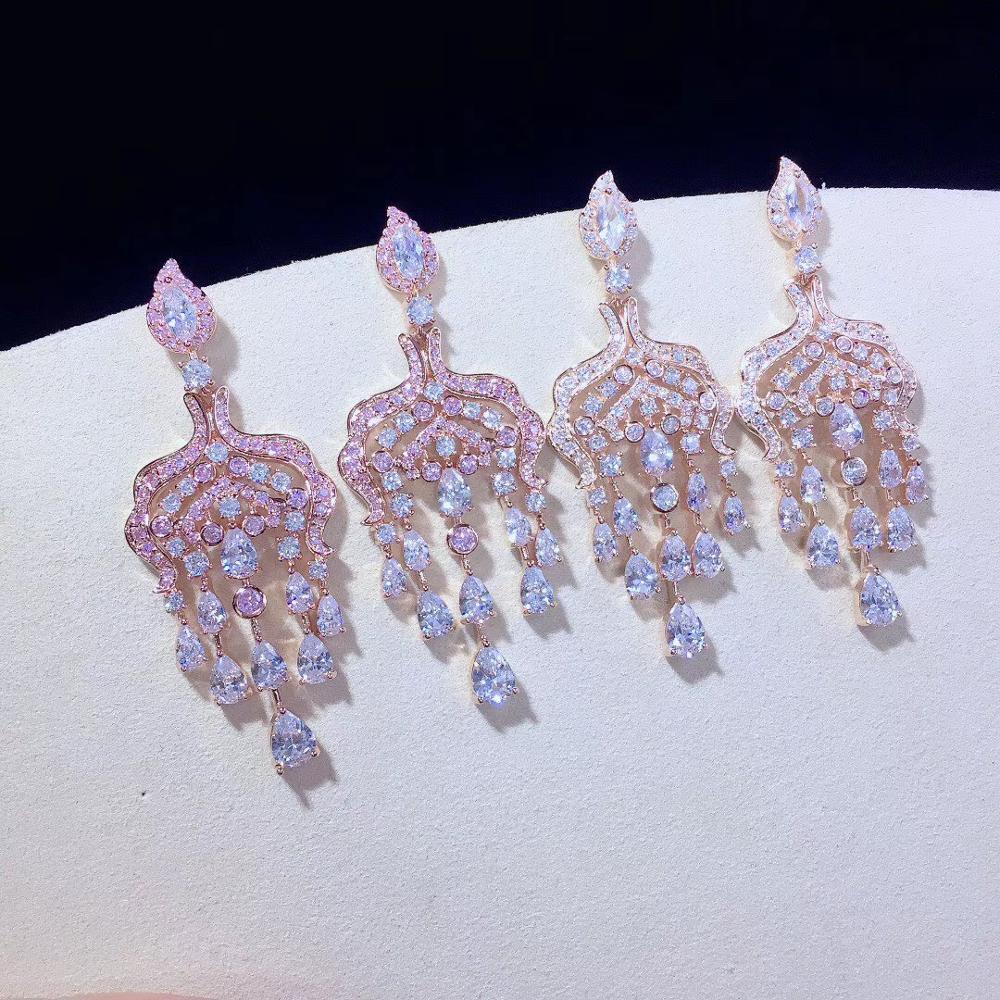 Rose couleur cubique zircon boucle d'oreille 925 en argent sterling mode femmes bijoux pour fête de mariage livraison gratuite