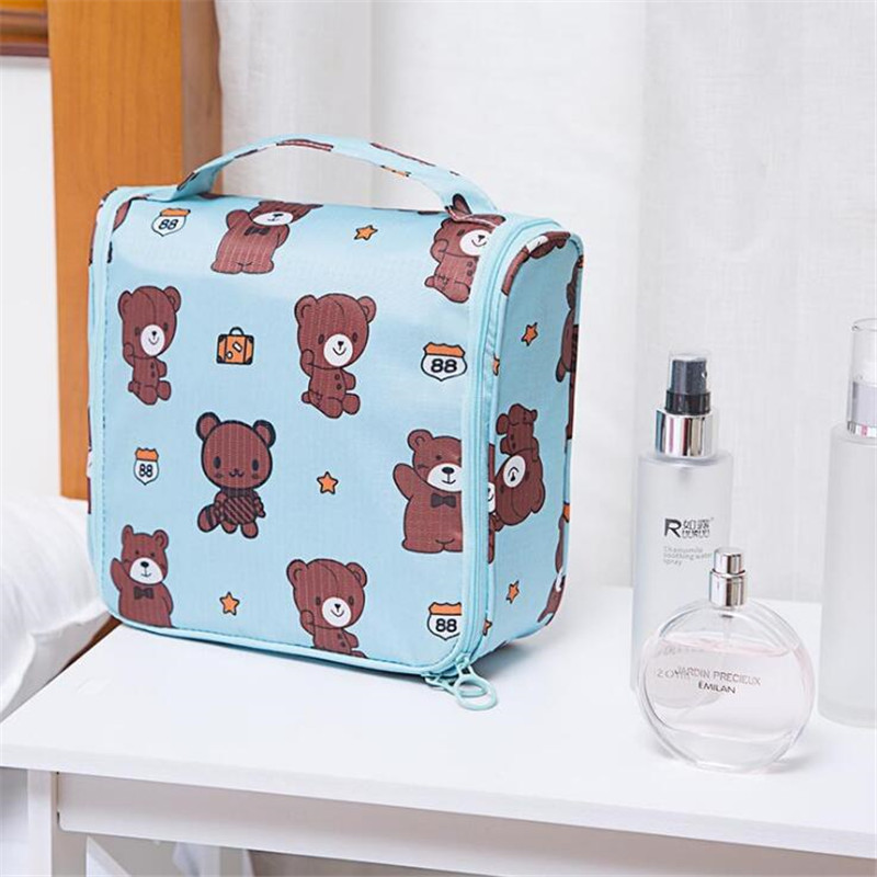 Korean Travel Organizer Bag Bathroom Hanging Wash Bag Travel Bag Fashion Waterproof Packaging Cube Cartoon Cute Portable Storage