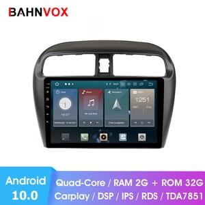 2 din android 10.0 rádio do carro gps dvd player para mitsubishi mirage attrage 2012 2018 rádio do carro unidade de cabeça navegação multimídia