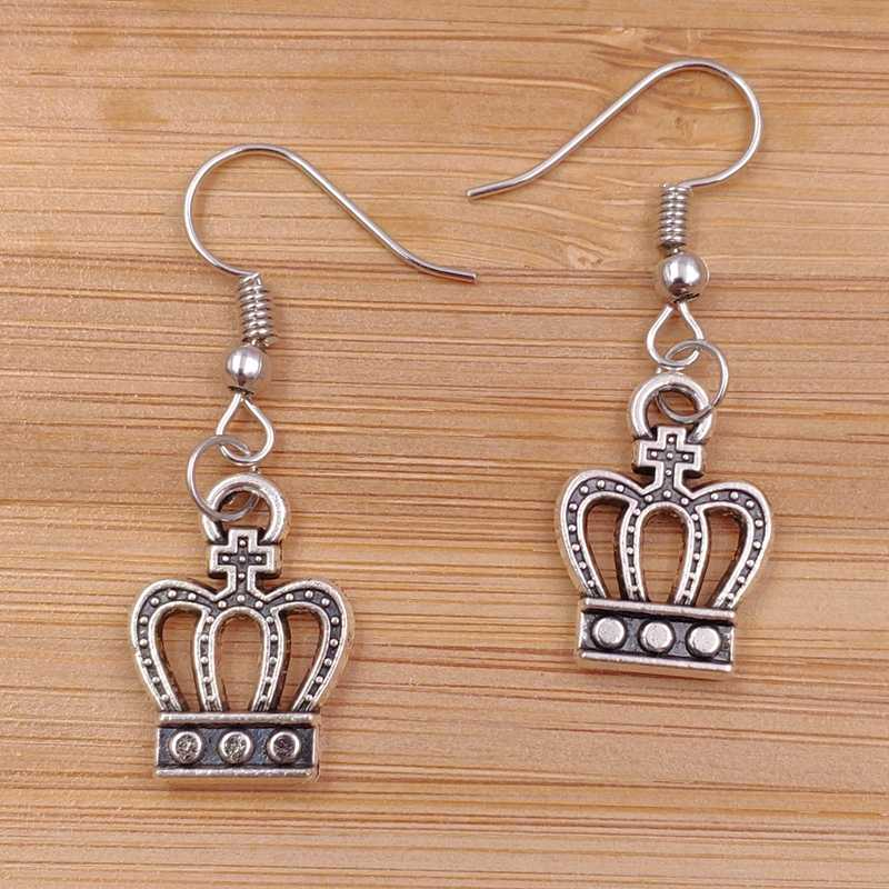 Cute New Earrings Crown Princess Prince King Trendy Alloy Metal Fashion Female Male Lovers Birthday gift AJ015-016