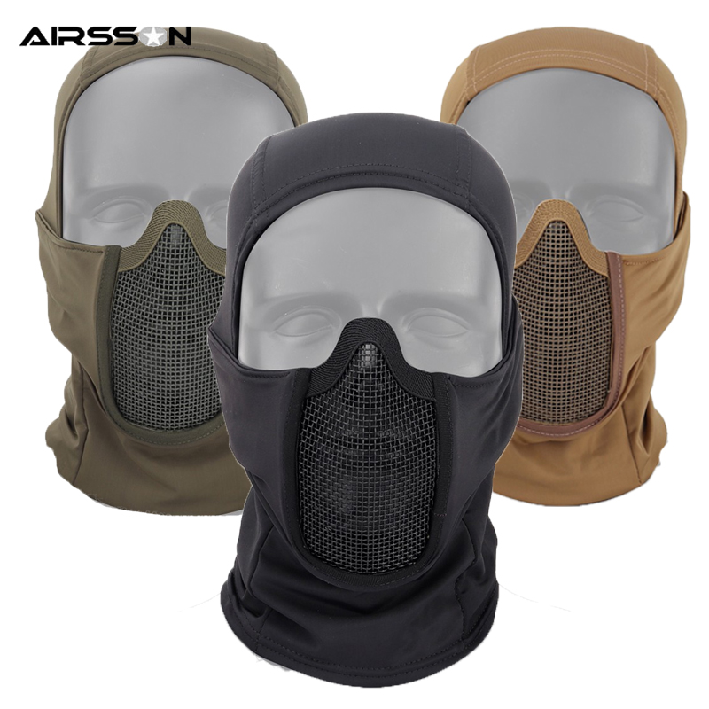 Airsoft Tactical Mask Cover Metal Wire Full Face Mask Men Face Hood Protection Winter Neck Guard For Outdoor Hunting Cycling New