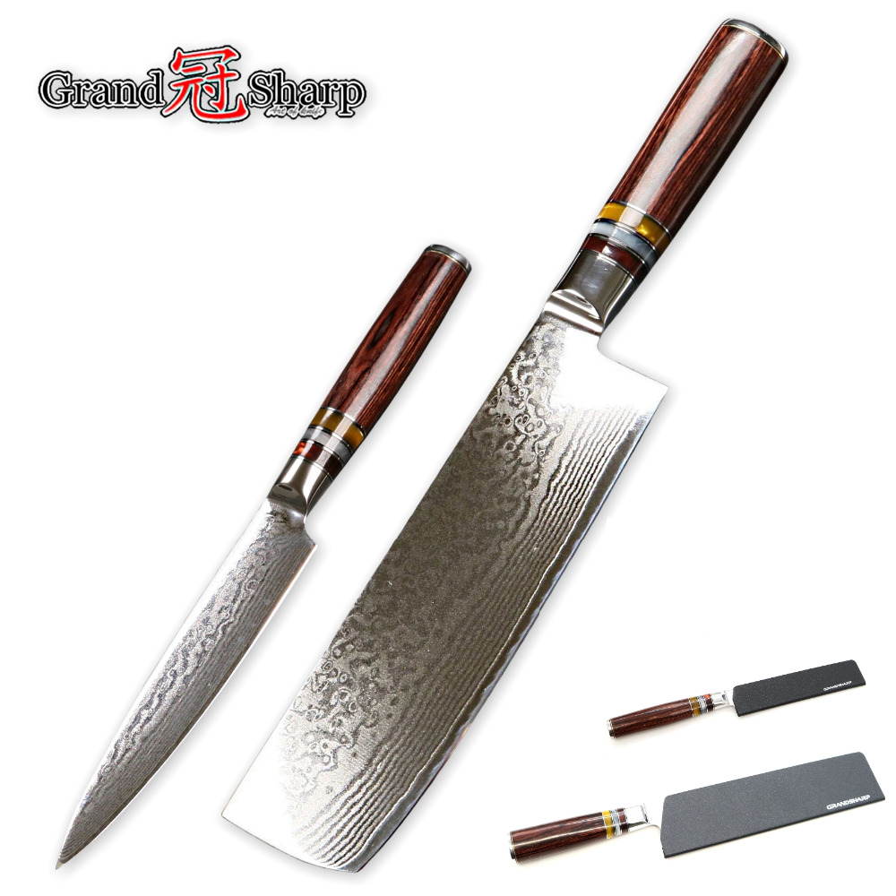 Kitchen Knife Set 2-Piece Nakiri Utility Japanese Damascus Steel Knives Vegetables Slicing Fruit Cleaver Chef Tools Cutlery NEW