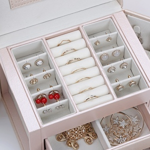 Image 5 - חדש תכשיטי תיבת גדול קיבולת עור אחסון תכשיטי תיבת עגיל טבעת שרשרת עם מראה שעון תכשיטי ארגונית