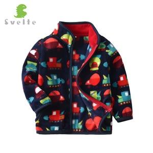 Image 2 - SVELTE Boys Polar Fleece Printed Jacket Coat Cute Soft Outerwear Cardigan Clothes Sweatshirt for Children Kid Spring Fall