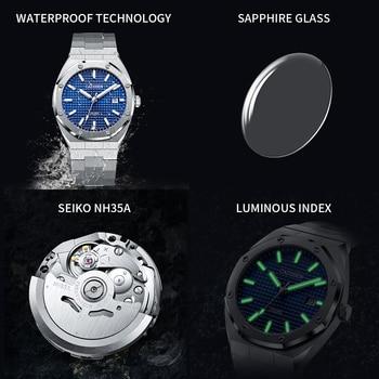 CADISEN New 42MM Men Watches Mechanical Automatic NH35A Blue Watch Men 100M Waterproof Brand Luxury Casual Business Wristwatch 6