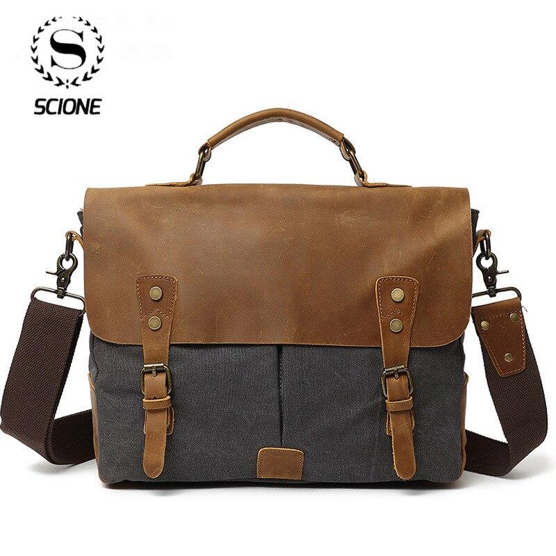 Mens Business Briefcase Messenger Bag Retro Crazy Horse Leather & Canvas Messenger Bag Office Laptop Case Shoulder Bag  For Male