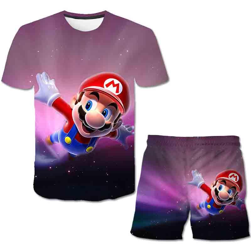 Verão venda quente meninos conjuntos de roupas dos desenhos animados mario meninos topo camiseta shorts roupas dos miúdos roupas moda ternos do esporte 4-14 anos de idade