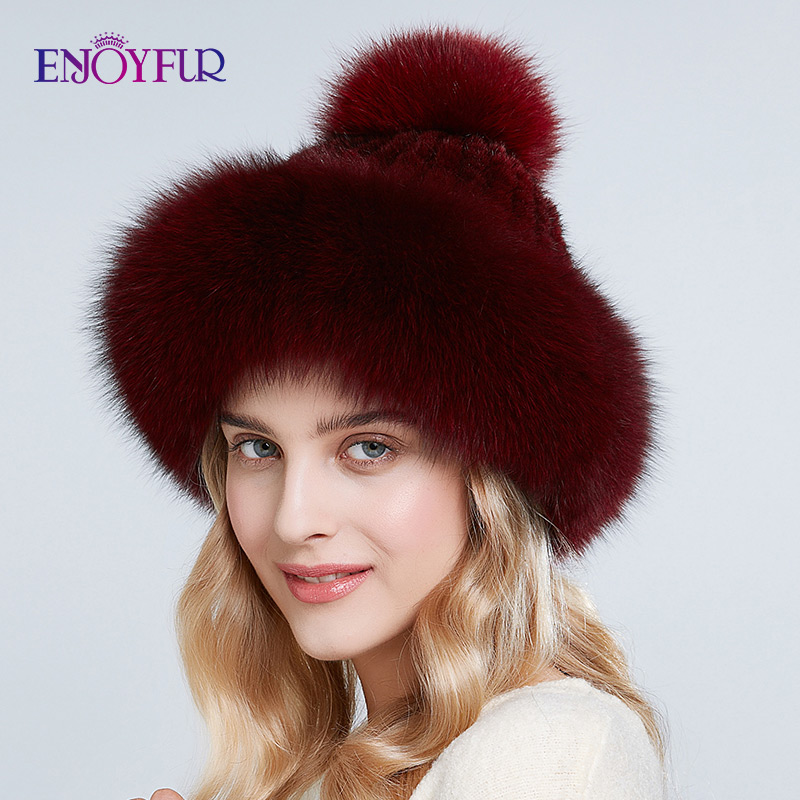 ENJOYFUR Natural Mink Fur Hats For Women Winter Thick Warm Fox Fur Caps With Pompom Fashion Russian Style Beanies