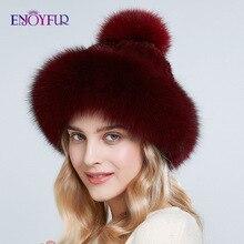 ENJOYFUR الطبيعي فرو منك القبعات للنساء الشتاء سميكة الدافئة الثعلب الفراء قبعات مع بوم بوم الأزياء الروسية نمط بيني