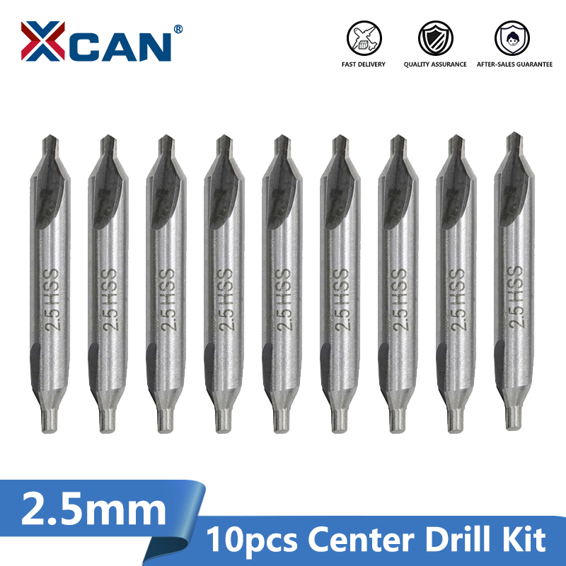 XCAN 10pcs 2.5mm Center Drill Bit Kit 60Degrees High Speed Steel Metal Hole Drill Cutter Combined Drill Bits Set