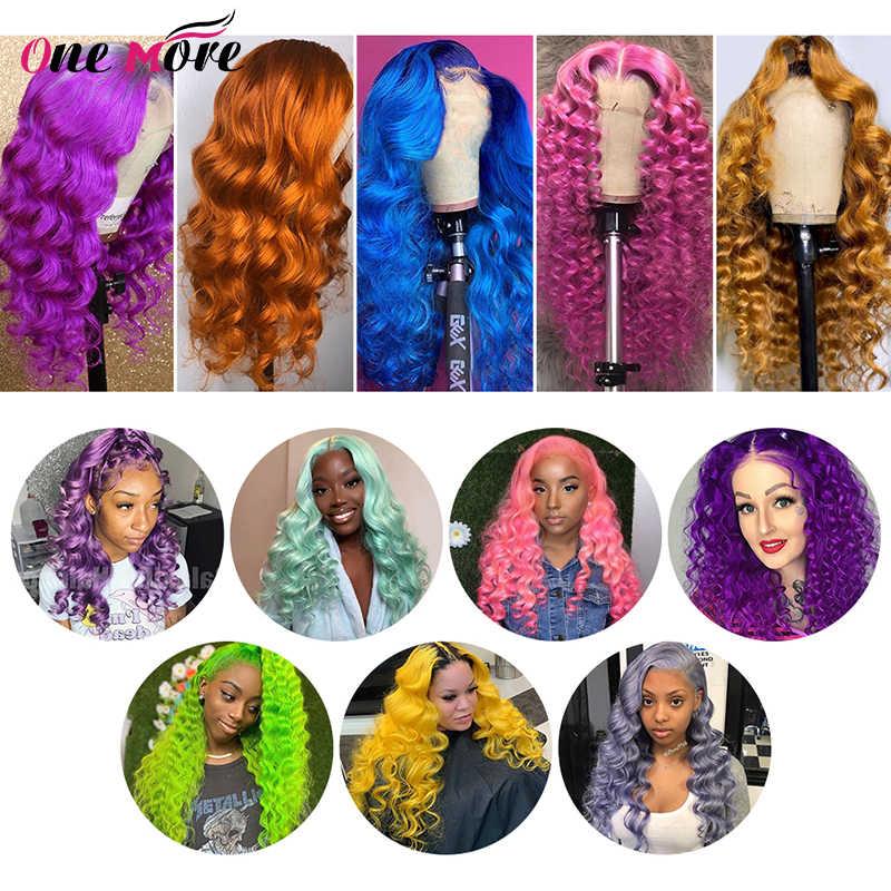 Kolorowa luźna peruka z mocnymi lokami 13x4 koronkowa peruka z ludzkimi włosami Remy żółty różowy zielony niebieski fioletowy imbir 99J miód blond dla kobiet