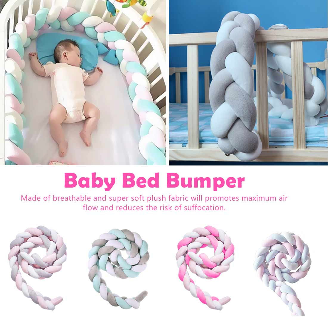 1M/2M/3M Baby Bumper Bed Braid Knot Pillow Cushion Bumper For Infant Crib Protector Cot Bumper Room Decor