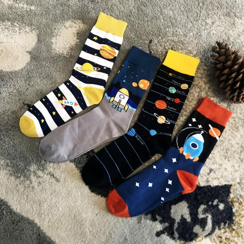 New Large Size Men's Socks Planetary High Tide Socks Cotton Creative Space Rocket Print Socks Skateboard Socks Unisex