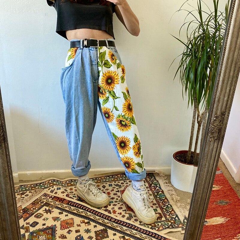 Новый тренд 2020, светильник с принтом подсолнухов, синие джинсы, подходят для женщин, молодых девушек, мягкие джинсовые длинные штаны, лоскутные шаровары, джинсы с высокой талией Джинсы      АлиЭкспресс