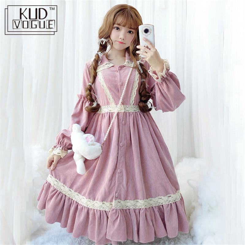 Lolita robe velours côtelé doux épais filles robe à volants manches longues taille haute classique princesse robes Cosplay Tea Party automne