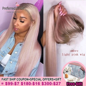 Preferred Ombre Pink Human Hair Wig Purple Straight Lace Front Wig With Baby Hair Brazilian Remy Transparent Lace Wigs For Women(China)